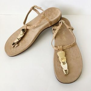 Vionic Miami Leather Sandals Gold Thong Strap Shoe